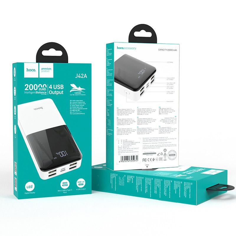 hoco j42a high power портативный аккумулятор 20000mah упаковка белый