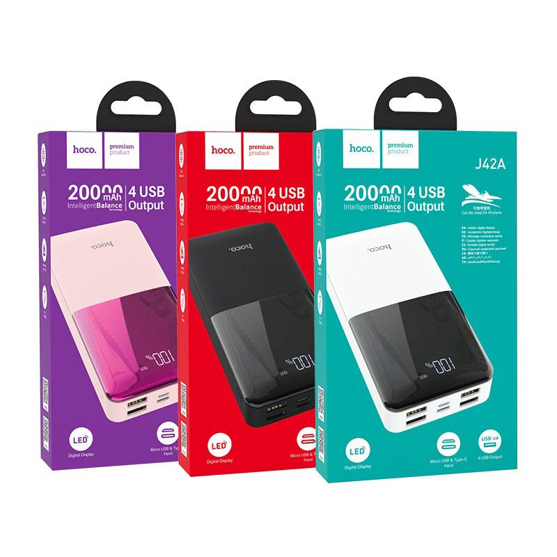 hoco j42a high power портативный аккумулятор 20000mah упаковка