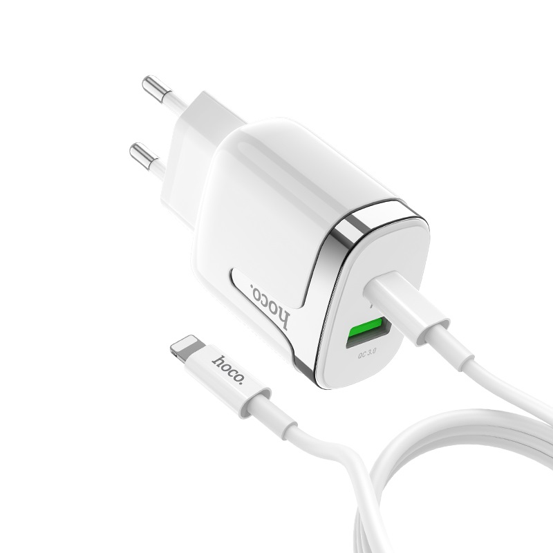 hoco c79a zeus pd qc3 wall charger eu set with type c to lightning cable