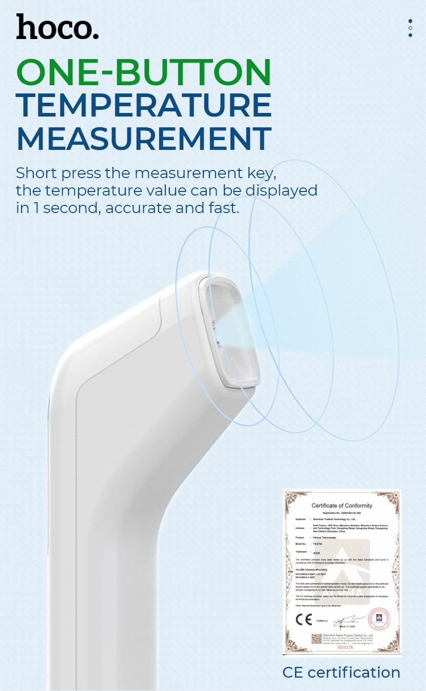 hoco news ys et03 non contact infrared thermometer one button en