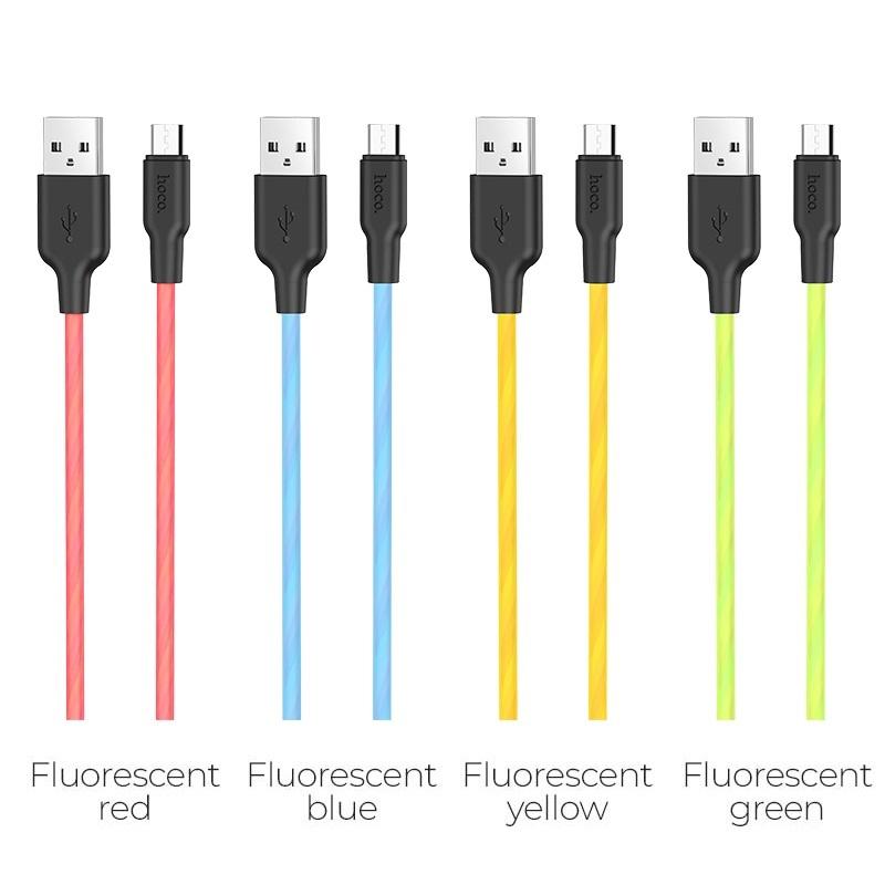 hoco x21 plus fluorescent силіконовий зарядний дата кабель micro usb кольору