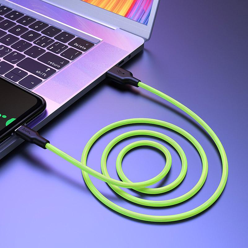 hoco x21 plus fluorescent силіконовий зарядний дата кабель micro usb інтер'єр зелений