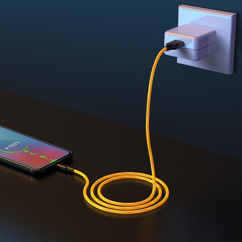 hoco x21 plus fluorescent силіконовий зарядний дата кабель micro usb інтер'єр жовтий
