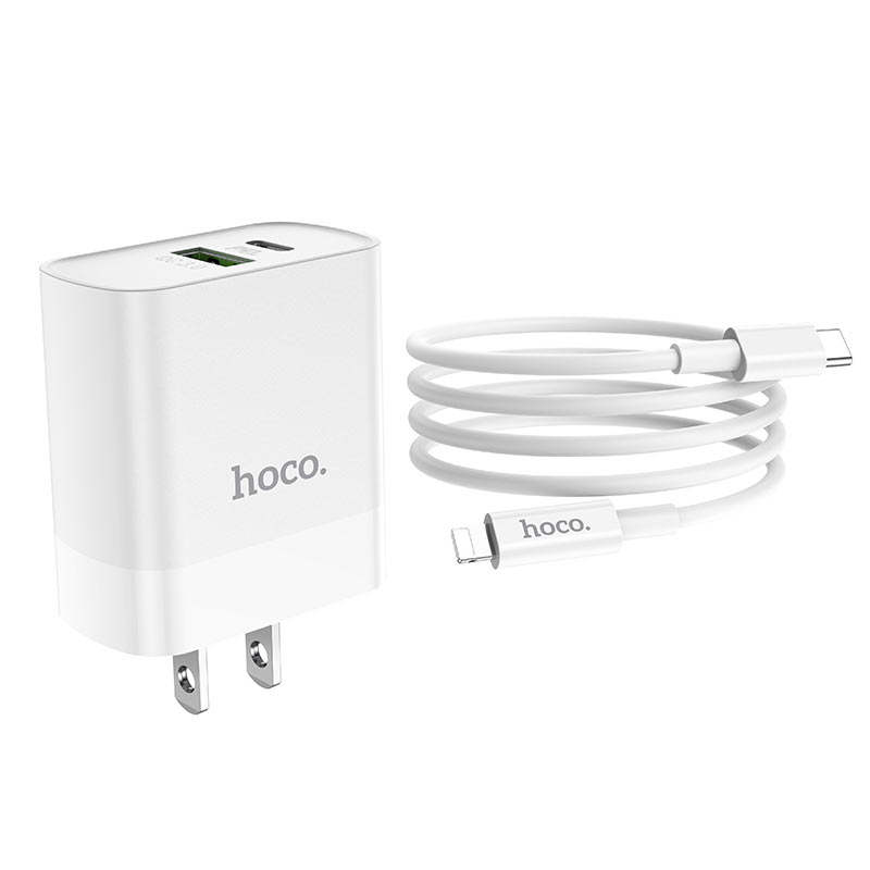 hoco c80 rapido pd qc3 wall charger us set with type c lightning cable wire