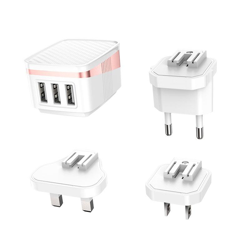 hoco c83 detachable pin зарядный адаптер us eu uk коннекторы