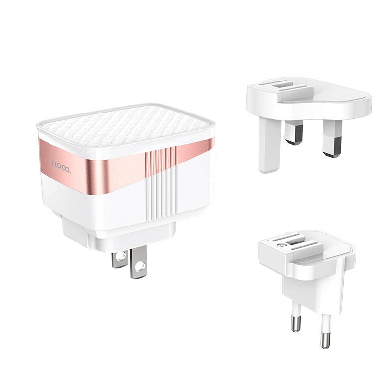 hoco c83 detachable pin зарядный адаптер us eu uk штекеры