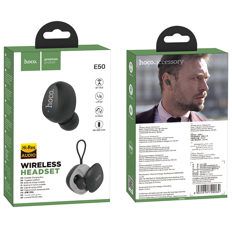 hoco e50 wise mini wireless headset with charging case package black