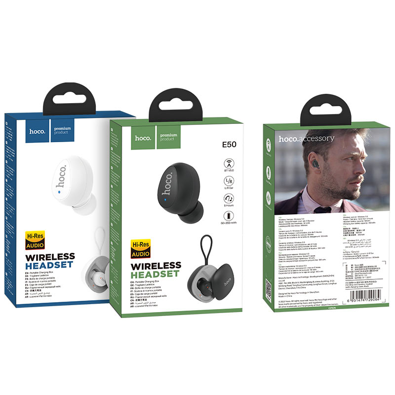 hoco e50 wise mini wireless headset with charging case packages