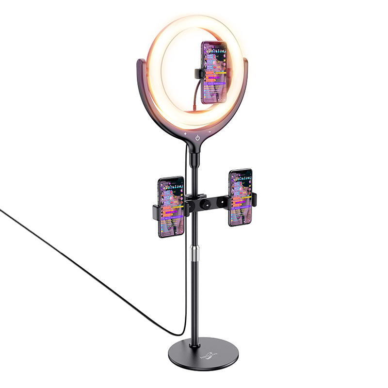 hoco lv01 rouge desktop fill light live broadcast stand ring effect