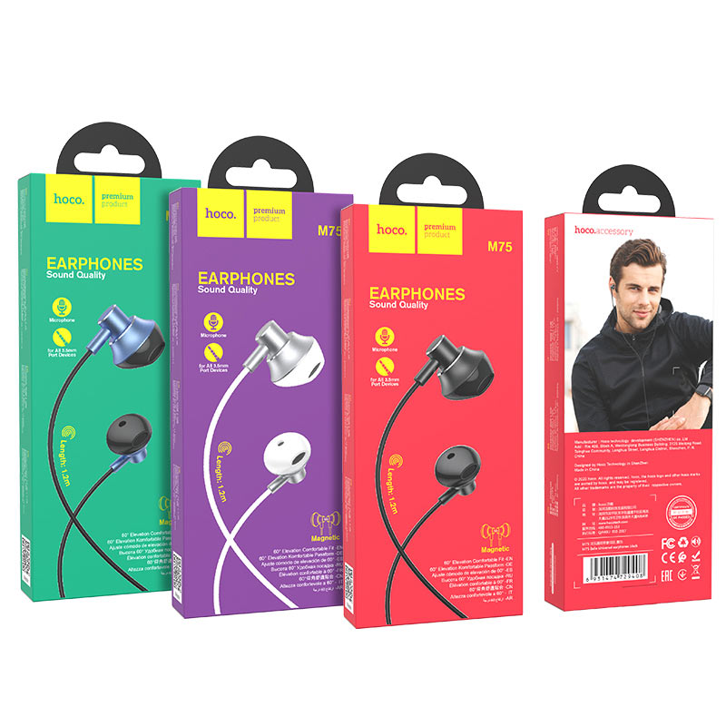 hoco m75 belle universal wired earphones with microphone packages