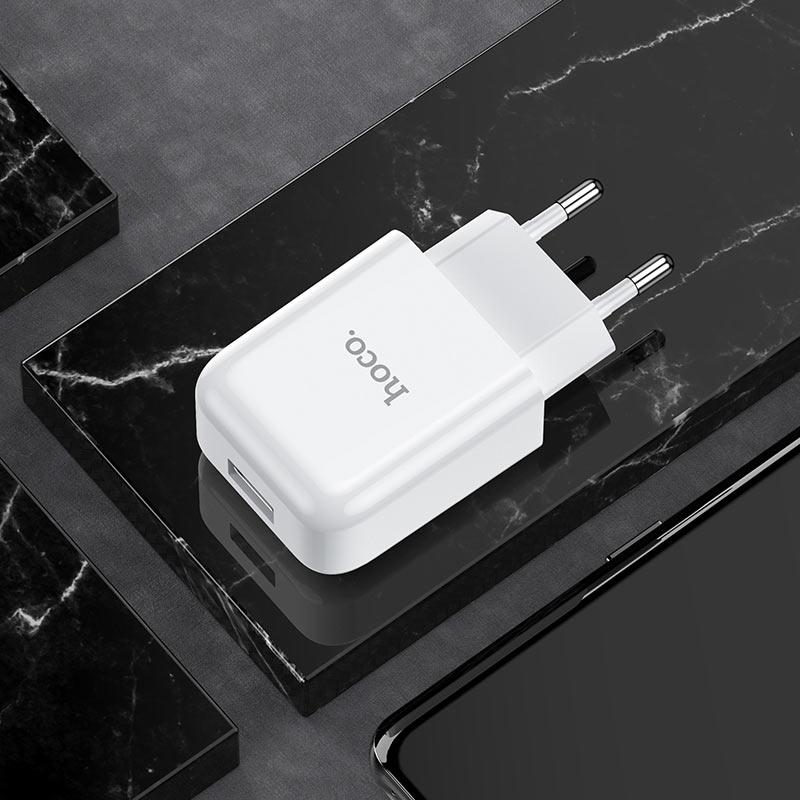 hoco n2 vigour single port wall charger eu interior white