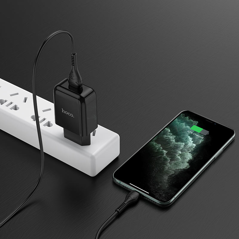 hoco n2 vigour single port wall charger eu set with lightning cable charging