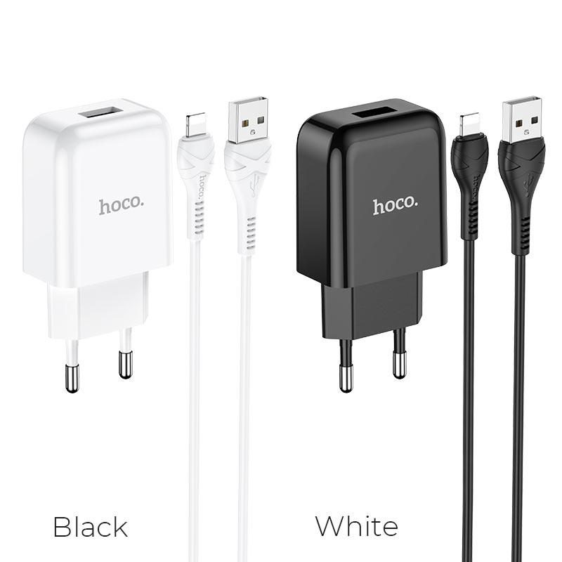 hoco n2 vigour single port wall charger eu set with lightning cable colors
