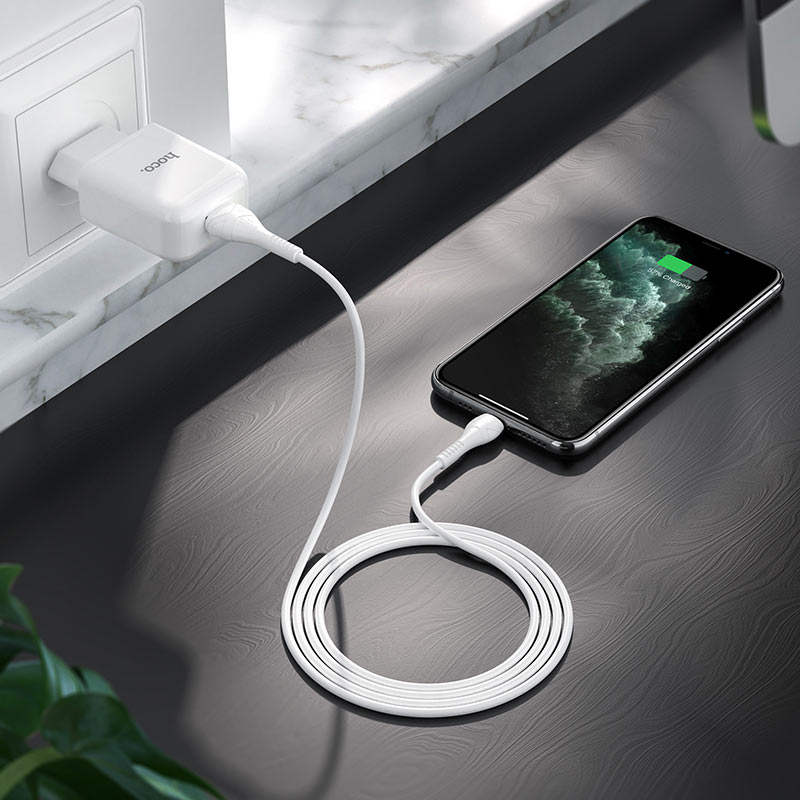 hoco n2 vigour single port wall charger eu set with lightning cable interior white