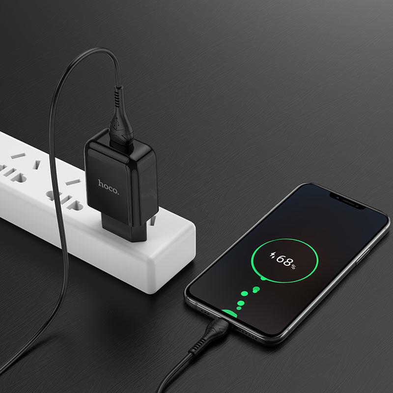 hoco n2 vigour single port wall charger eu set with micro usb cable charging