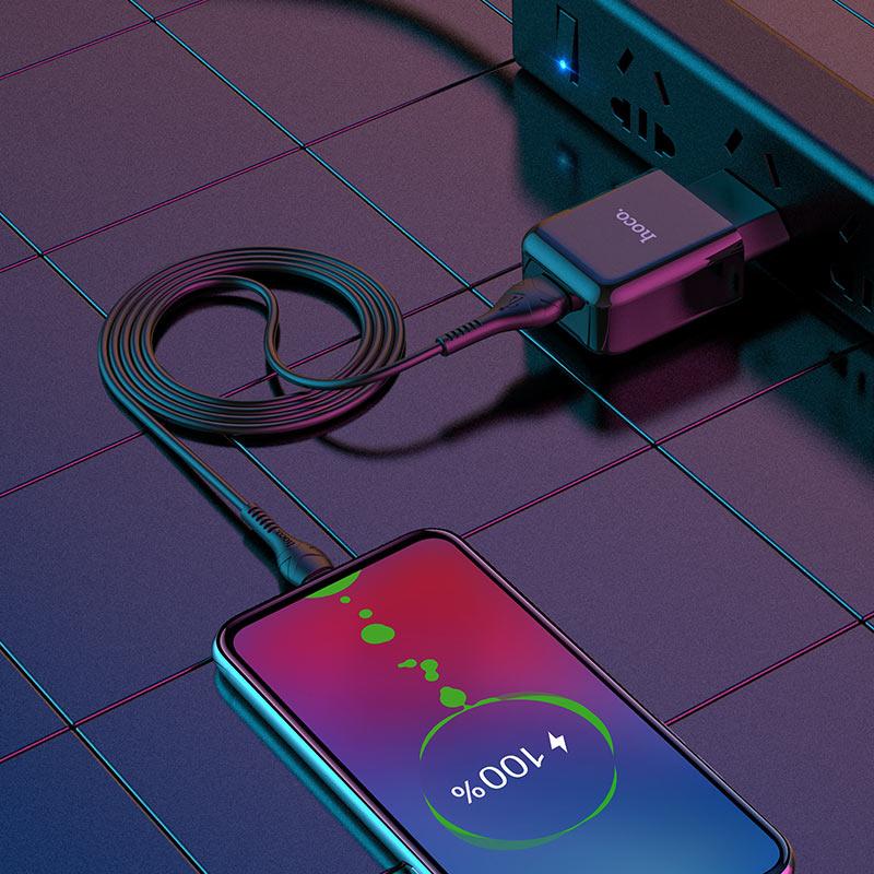 hoco n2 vigour single port wall charger eu set with micro usb cable interior black