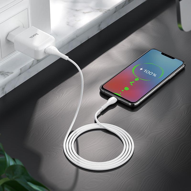 hoco n2 vigour single port wall charger eu set with micro usb cable interior white