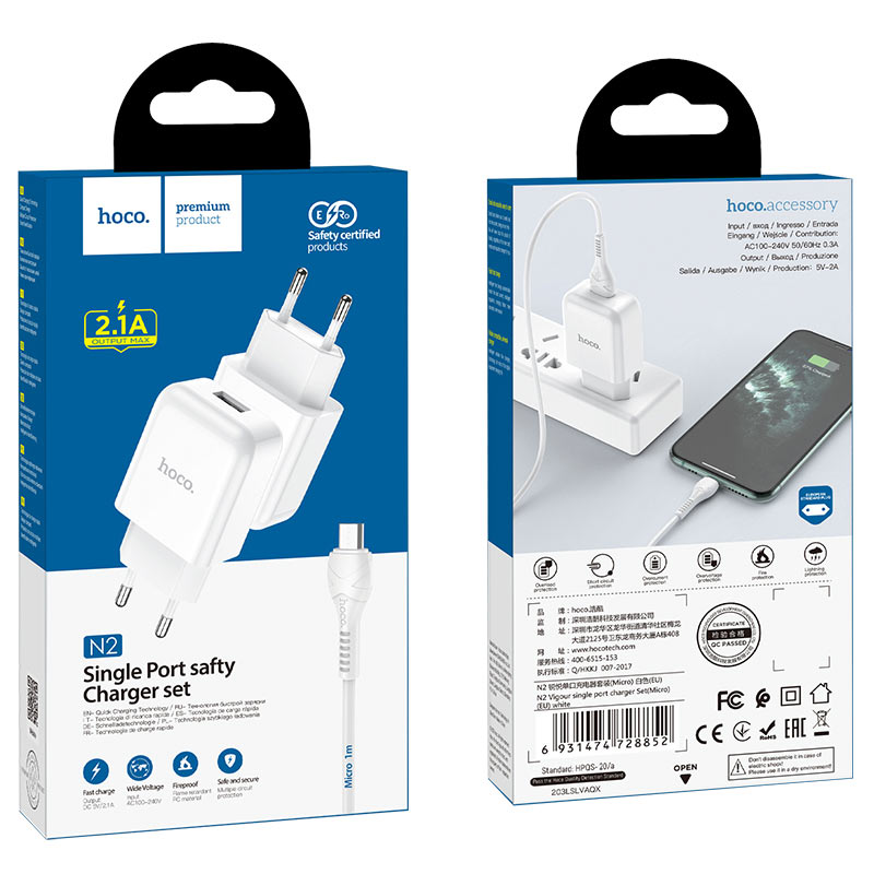 hoco n2 vigour single port wall charger eu set with micro usb cable package white