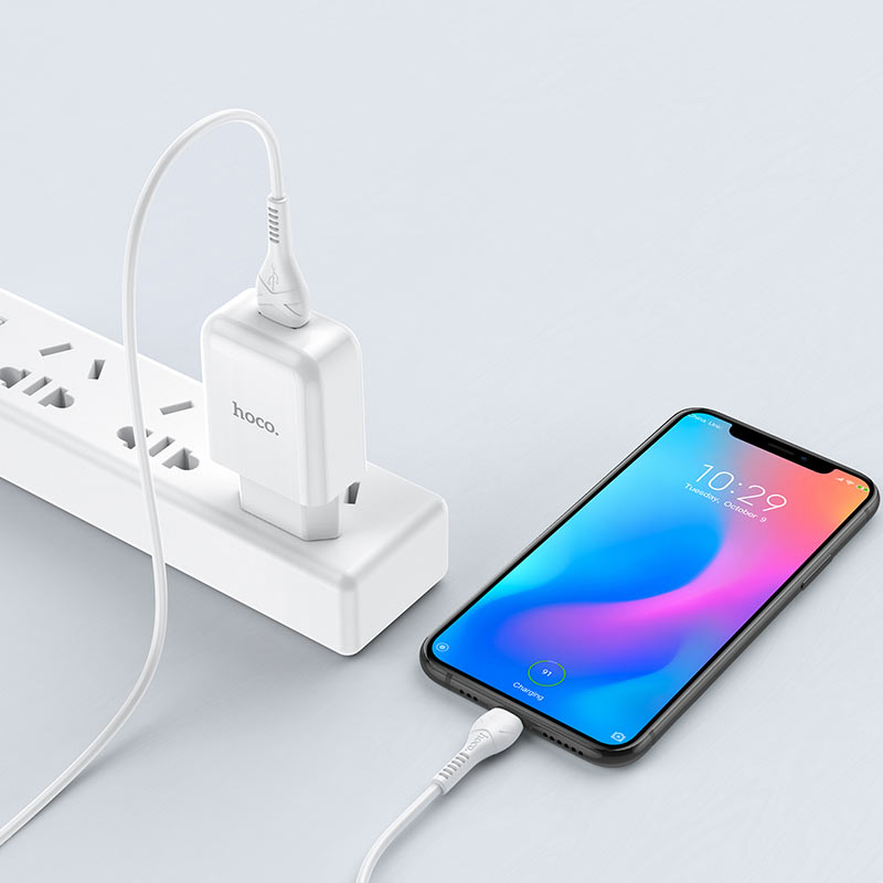 hoco n2 vigour single port wall charger eu set with type c cable charging