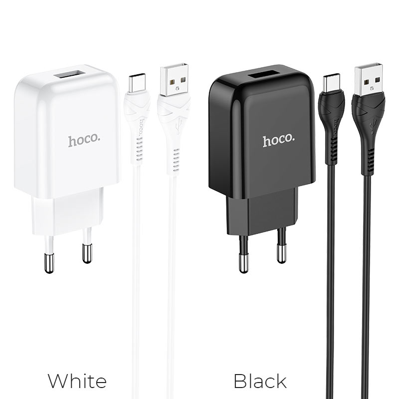 hoco n2 vigour single port wall charger eu set with type c cable colors
