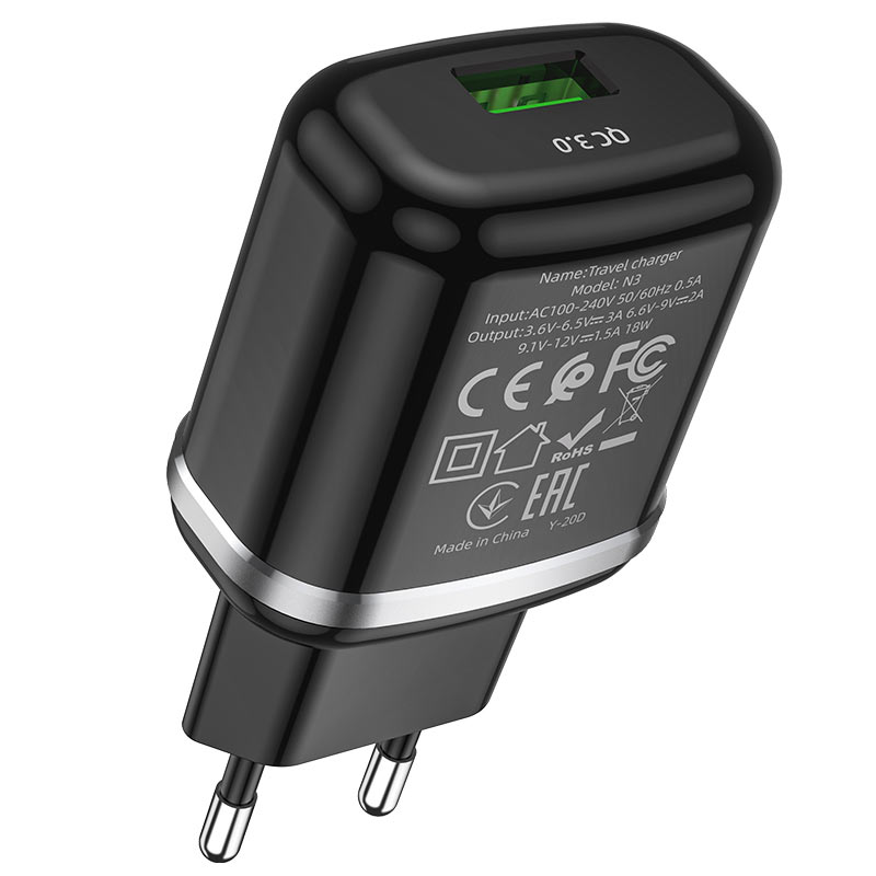 hoco n3 special single port qc3 wall charger eu certification