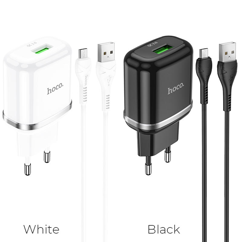 hoco n3 special single port qc3 wall charger eu set with micro usb cable colors