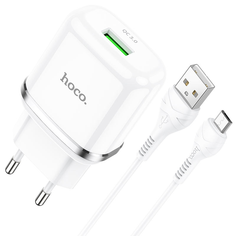 hoco n3 special single port qc3 wall charger eu set with micro usb cable connectors white