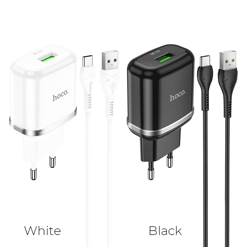 hoco n3 special single port qc3 wall charger eu set with type c cable colors
