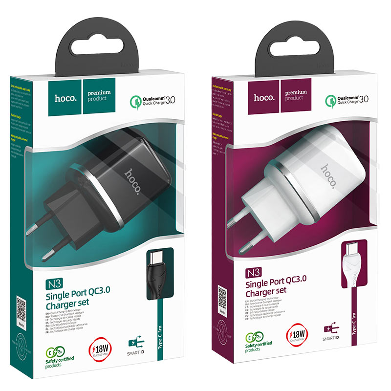 hoco n3 special single port qc3 wall charger eu set with type c cable packages