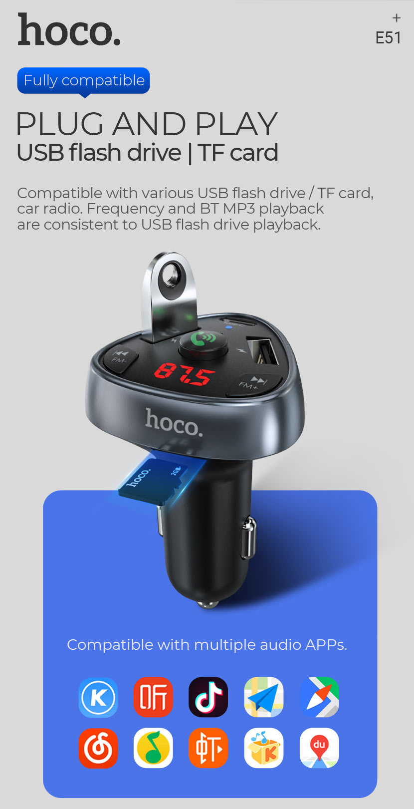 hoco news e51 road treasure in car bt fm transmitter plug play en