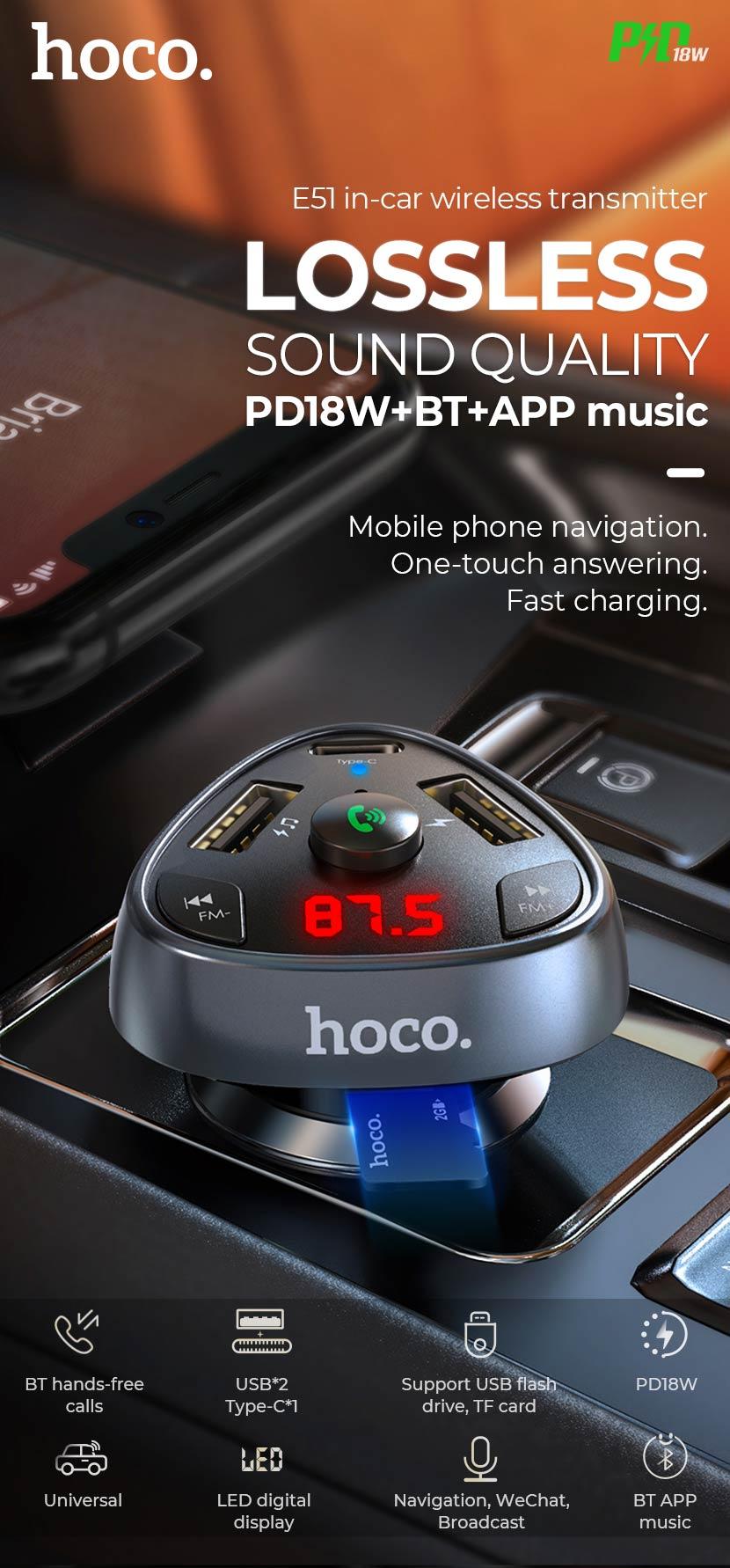 hoco news e51 road treasure in car bt fm transmitter sound quality en