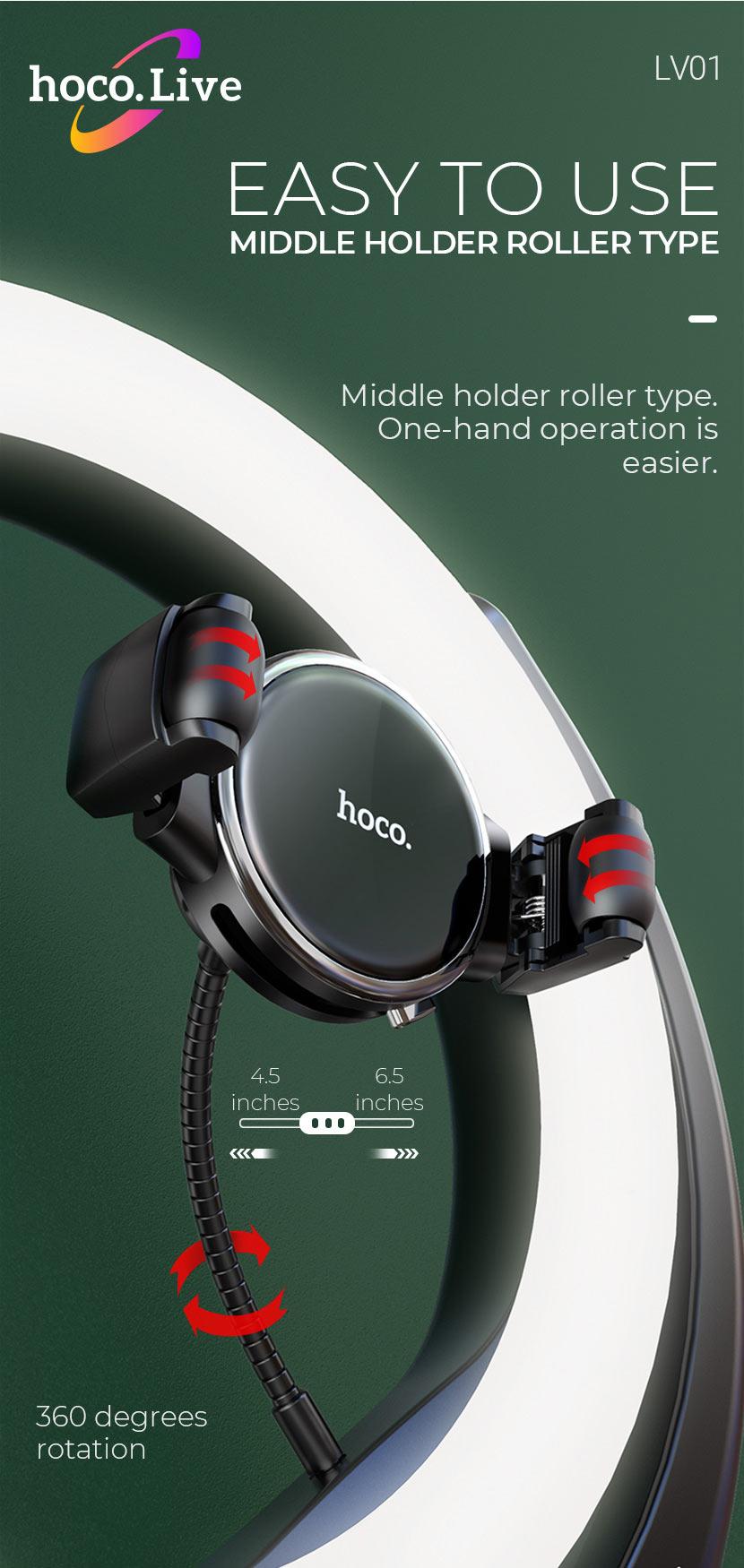 hoco news lv01 rouge desktop fill light live broadcast stand roller en
