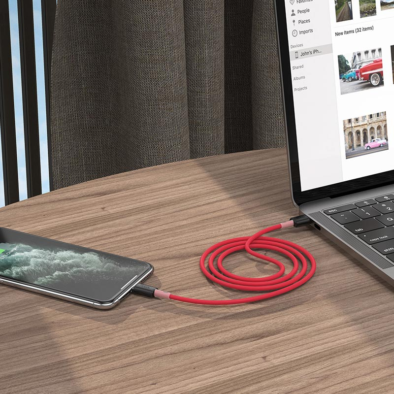 hoco x48 soft silicone charging data cable for lightning red interior