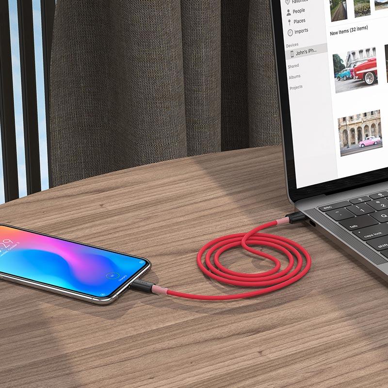 hoco x48 мягкий силиконовый зарядный кабель для передачи данных для micro usb красный интерьер