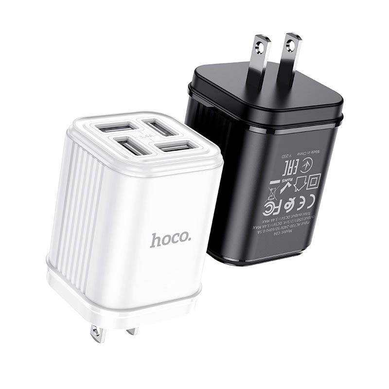 hoco c84 resolute four port wall charger us black white