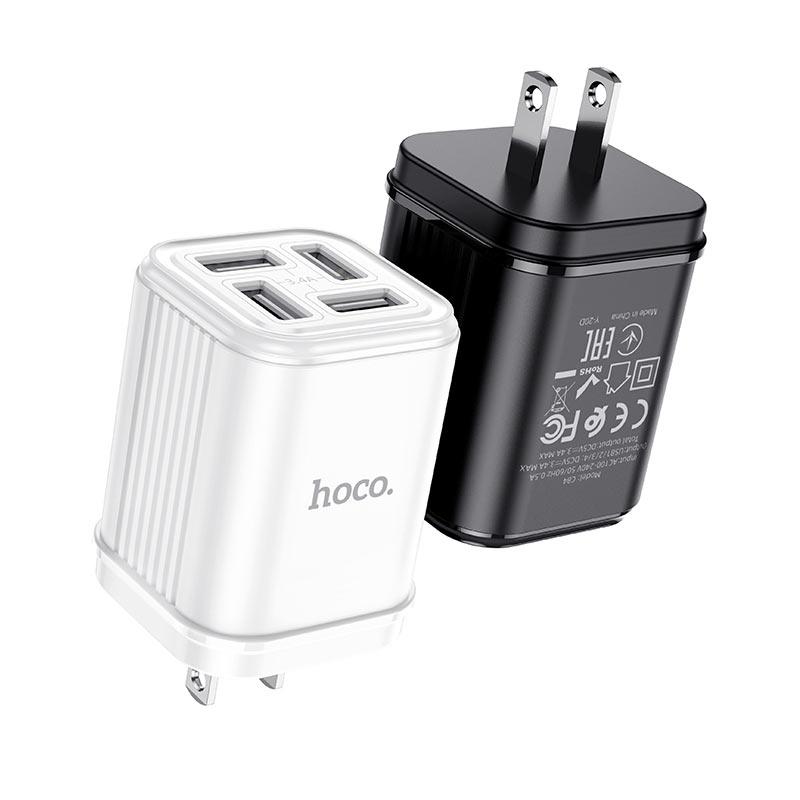 hoco c84 resolute 4 usb зарядный адаптер us черный белый