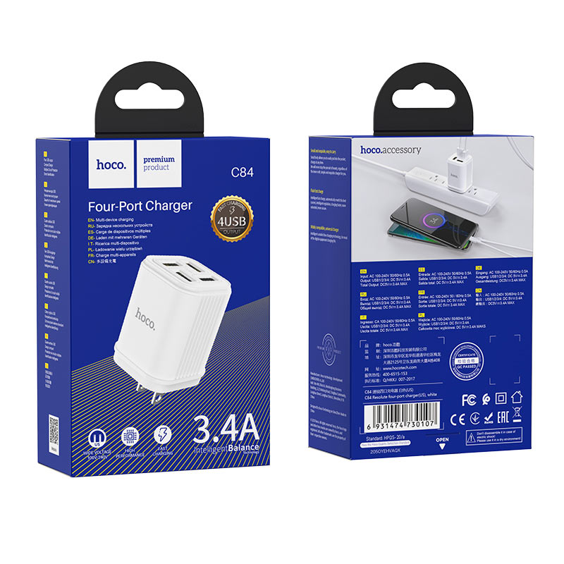 hoco c84 resolute four port wall charger us package white