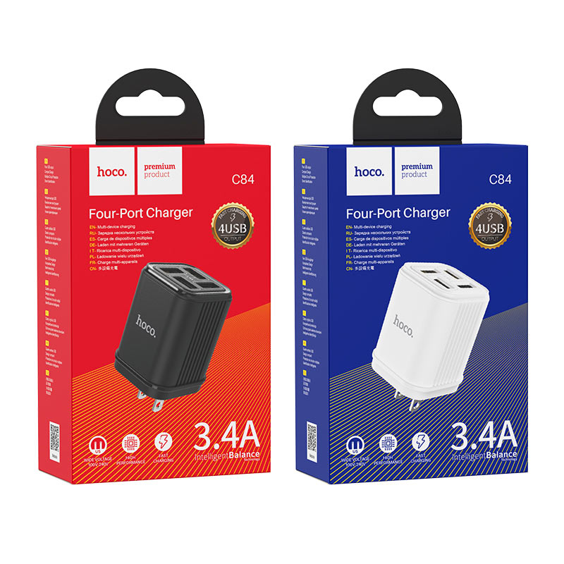 hoco c84 resolute four port wall charger us packages