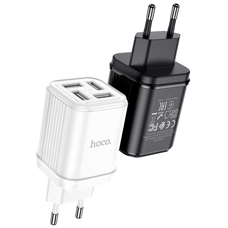 hoco c84a resolute four port wall charger eu black white