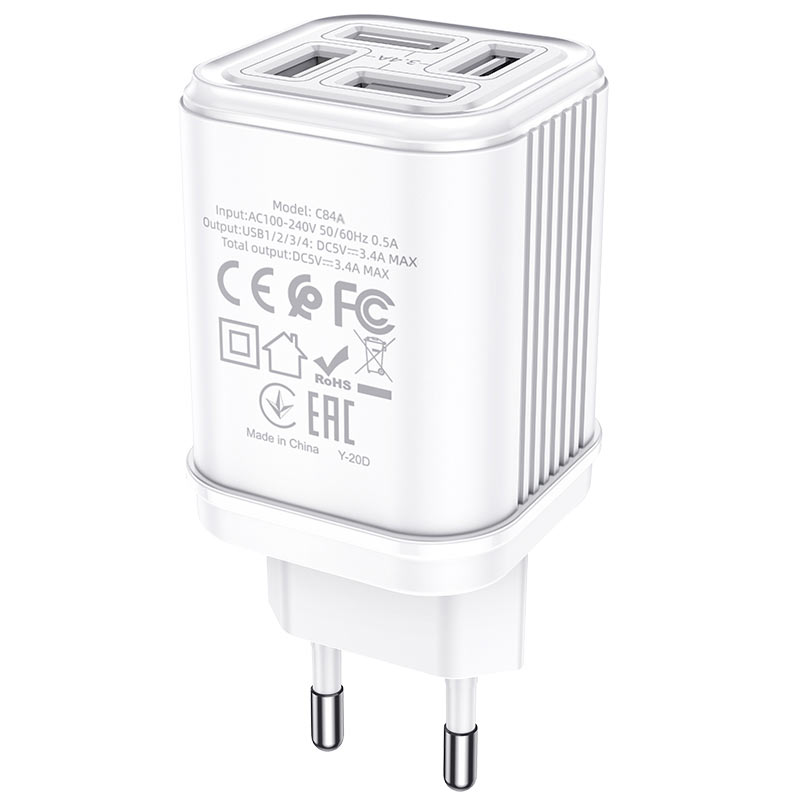 hoco c84a resolute four port wall charger eu certification