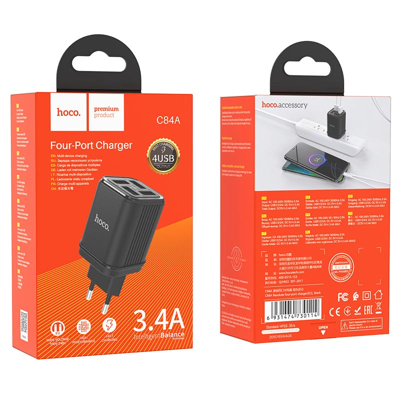 hoco c84a resolute four port wall charger eu package black