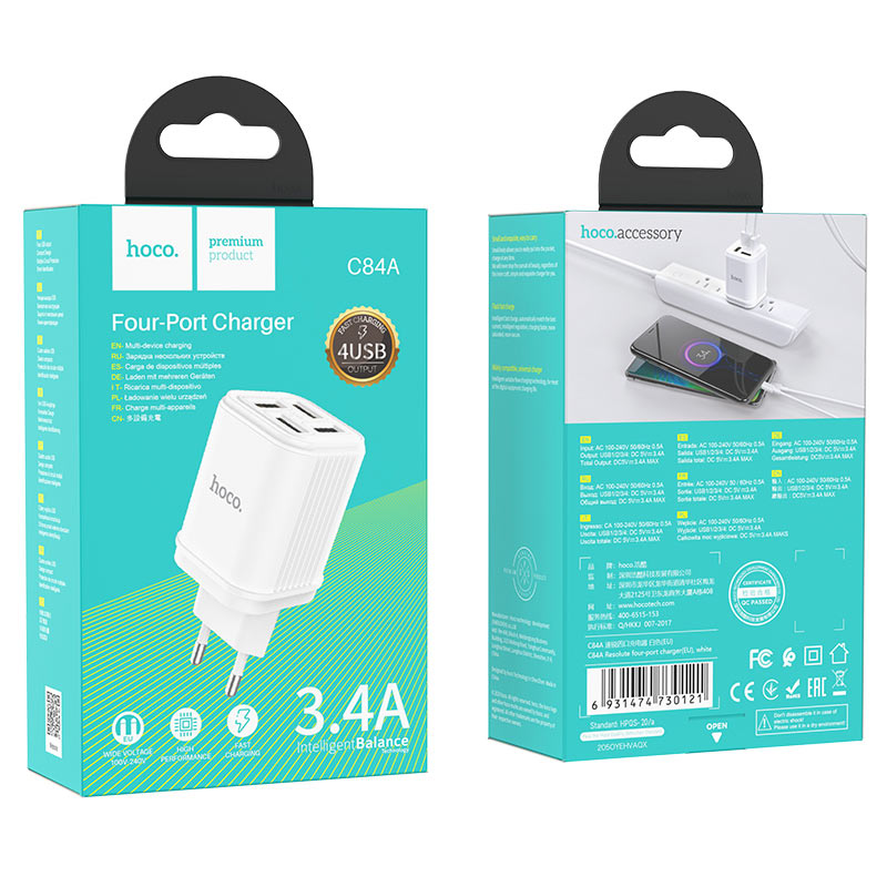 hoco c84a resolute four port wall charger eu package white