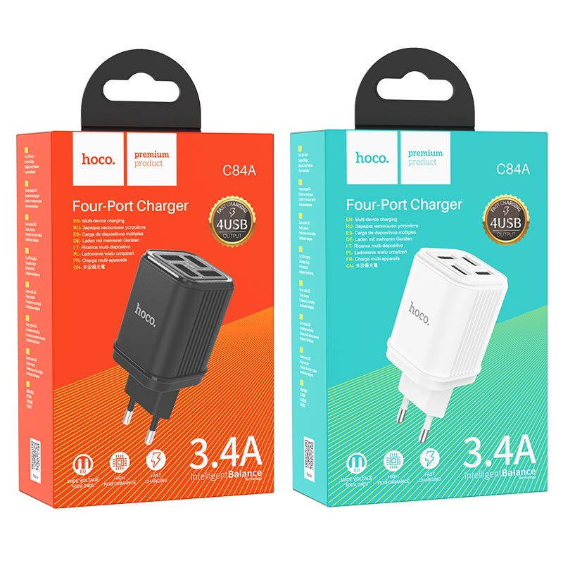 hoco c84a resolute four port wall charger eu packages