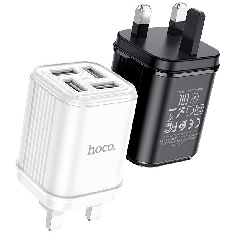 hoco c84b resolute зарядное устройство с четырьмя портами uk черный белый