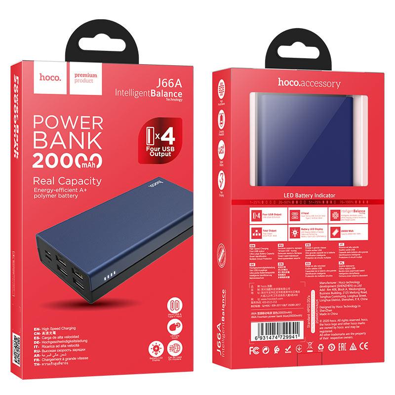hoco j66a fountain power bank 20000mah package blue