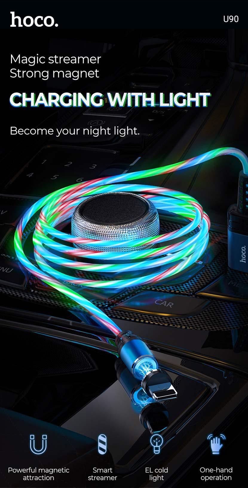 hoco news u90 ingenious streamer charging cable en