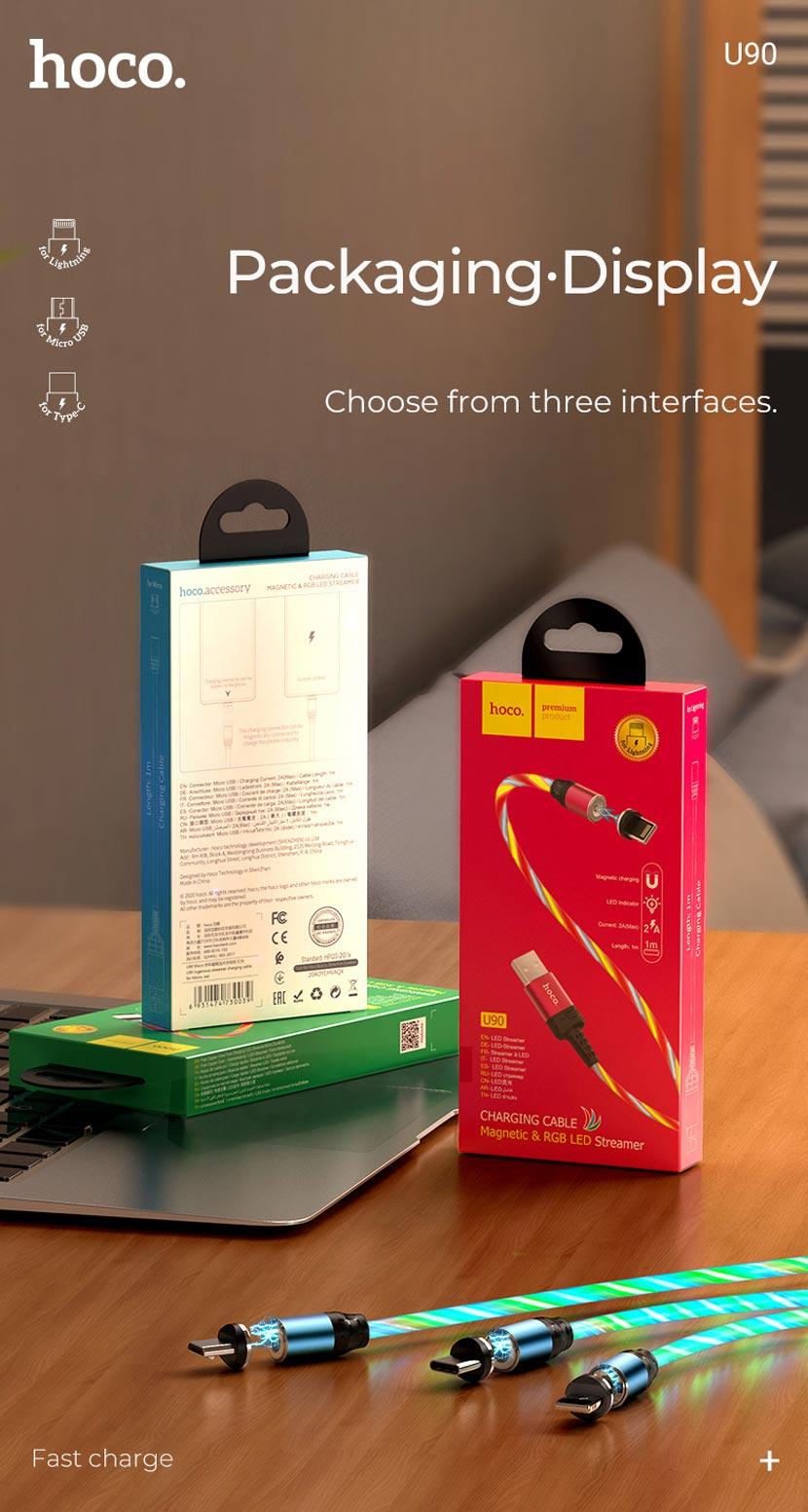 hoco news u90 ingenious streamer charging cable package en