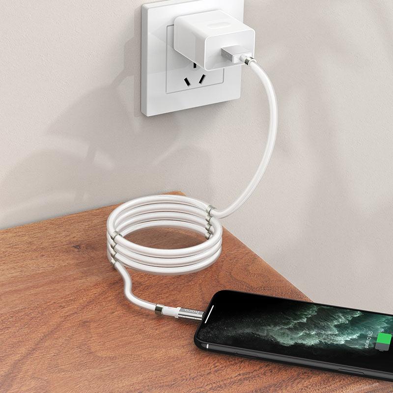 浩酷-u91-妙控磁吸收纳充电数据线-lightning-手机