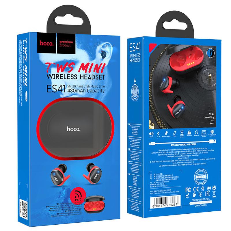hoco es41 clear sound tws wireless headset package black