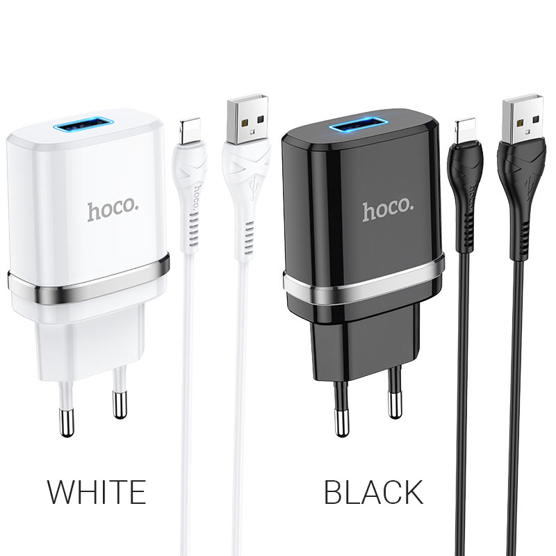 hoco n1 ardent single port wall charger eu set with lightning cable colors